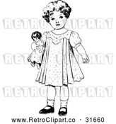 Vector Clip Art of Retro Girl Standing with a Doll by Prawny Vintage
