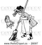Vector Clip Art of Retro Girl Sweeping by Her Doll by Prawny Vintage