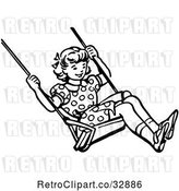 Vector Clip Art of Retro Girl Swinging in by Picsburg