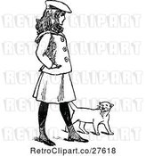 Vector Clip Art of Retro Girl Walking with a Cat by Prawny Vintage