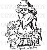 Vector Clip Art of Retro Girl Walking with Dolls by Prawny Vintage