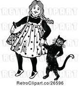 Vector Clip Art of Retro Girl Walking with Her Cat by Prawny Vintage