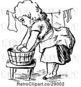Vector Clip Art of Retro Girl Washing and Hanging Laundry by Prawny Vintage