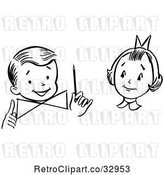 Vector Clip Art of Retro Girl Watching a Boy Perform a Magic Dial Magic Trick by Picsburg