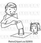 Vector Clip Art of Retro Girl Watching a Boy Perform a Magic Glass Magic Trick by Picsburg