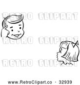 Vector Clip Art of Retro Girl Watching a Boy Perform a Mind Reading Magic Trick by Picsburg
