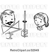 Vector Clip Art of Retro Girl Watching a Boy Perform a Rising Ring Magic Trick by Picsburg