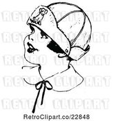 Vector Clip Art of Retro Girl Wearing a Dog Hat by Prawny Vintage