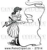 Vector Clip Art of Retro Girl with a Banner by Prawny Vintage