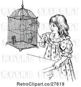 Vector Clip Art of Retro Girl with a Budgie by Prawny Vintage