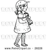 Vector Clip Art of Retro Girl with a Doll by Prawny Vintage