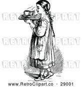 Vector Clip Art of Retro Girl with a Tray of Tea by Prawny Vintage