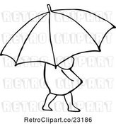 Vector Clip Art of Retro Girl with an Umbrella 2 by Prawny Vintage