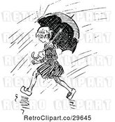 Vector Clip Art of Retro Girl with an Umbrella in the Rain by Prawny Vintage