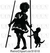Vector Clip Art of Retro Girl with Stilts and a Cat by Prawny Vintage
