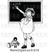 Vector Clip Art of Retro Girl Writing I Love You on a Chalk Board by Prawny Vintage