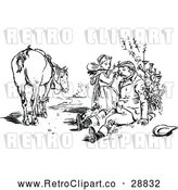 Vector Clip Art of Retro Girlmending a Man After Falling by Prawny Vintage