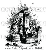 Vector Clip Art of Retro Girls at a Water Pump by Prawny Vintage