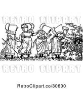 Vector Clip Art of Retro Girls Discovering a Nest in a Garden by Prawny Vintage
