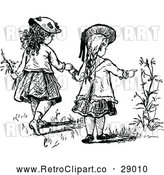 Vector Clip Art of Retro Girls Holding Hands and Looking at Flowers by Prawny Vintage