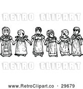 Vector Clip Art of Retro Girls Holding Hands by Prawny Vintage