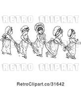 Vector Clip Art of Retro Girls in a Line Holding on to Each Others Dresses by Prawny Vintage