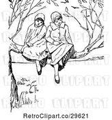 Vector Clip Art of Retro Girls in a Tree by Prawny Vintage