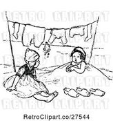 Vector Clip Art of Retro Girls Playing in Sand Under Laundry on a Line by Prawny Vintage