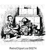 Vector Clip Art of Retro Girls Reading with a Dog by Prawny Vintage