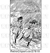 Vector Clip Art of Retro Girls Running in the Rain by Prawny Vintage