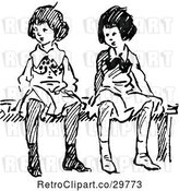 Vector Clip Art of Retro Girls Sitting on a Bench 2 by Prawny Vintage