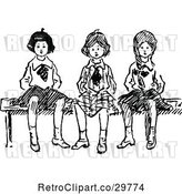 Vector Clip Art of Retro Girls Sitting on a Bench by Prawny Vintage