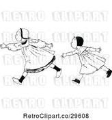 Vector Clip Art of Retro Girls Speed Walking by Prawny Vintage