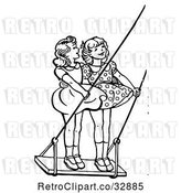 Vector Clip Art of Retro Girls Standing on a Swing in by Picsburg
