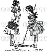 Vector Clip Art of Retro Girls Sweeping and Talking by Prawny Vintage