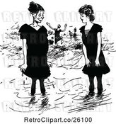 Vector Clip Art of Retro Girls Wading on the Beach by Prawny Vintage