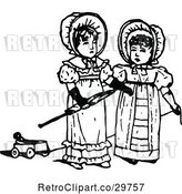 Vector Clip Art of Retro Girls with an Umbrella and Pull Toy by Prawny Vintage
