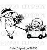 Vector Clip Art of Retro Girls with Flowers a Rabbit and Wagon by Prawny Vintage