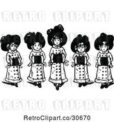 Vector Clip Art of Retro Girls with Muffs by Prawny Vintage