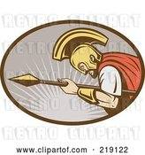 Vector Clip Art of Retro Gladiator and Spear Logo by Patrimonio