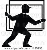 Vector Clip Art of Retro Glass Delivery Worker by Patrimonio