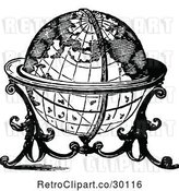 Vector Clip Art of Retro Globe on a Stand by Prawny Vintage