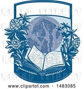 Vector Clip Art of Retro Globe with Rhododendron Flowers and an Open Book in a Crest by Patrimonio