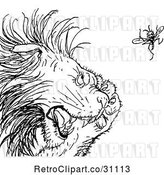 Vector Clip Art of Retro Gnat Annoying a Lion by Prawny Vintage