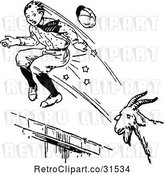 Vector Clip Art of Retro Goat Attacking a Boy by Prawny Vintage