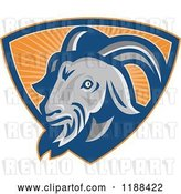 Vector Clip Art of Retro Goat in a Shield of Orange Rays by Patrimonio