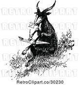 Vector Clip Art of Retro Goat Writing a Letter by Prawny Vintage
