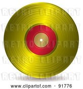 Vector Clip Art of Retro Gold and Red Record Album by Michaeltravers