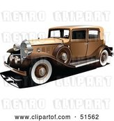 Vector Clip Art of Retro Gold Car with White Wall Tires by Leonid
