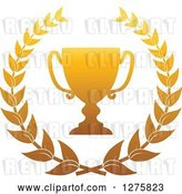 Vector Clip Art of Retro Gold Championship Trophy Cup in a Wreath by Vector Tradition SM